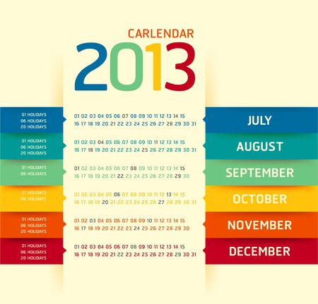 2013 calendar modern soft color Stock Vector - 16747573