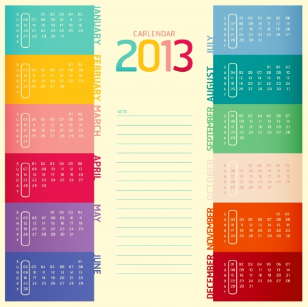 2013 calendar modern soft color Illustration