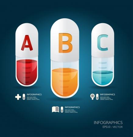 vitamina a: Plantilla creativa con bandera c�psula  puede ser utilizado para la infograf�a  banners  ilustraci�n concepto