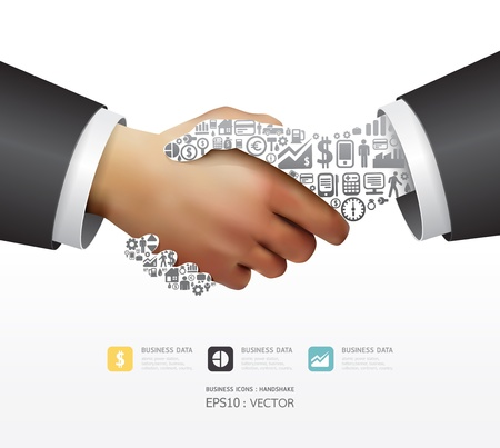Elements are small icons Finance make in active businessman handshake shape  illustration  concept Vector
