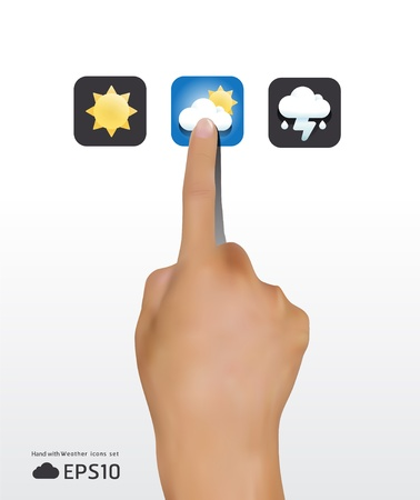 touch screen hand: hand touching weather icons screen    illustration