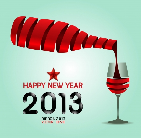 Happy new year 2013 ribbon wine bottle shape  illustration  concept Vector