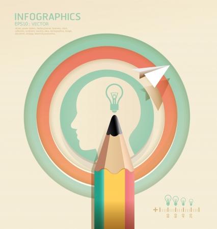 creare: infografica creativa matita modello concetto illustrazione Vettoriali