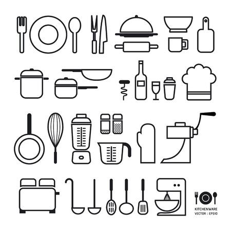 cookware: Herramienta Kitchen iconos de colección puede ser utilizado para gráficos o infografías diseño web Horizontal