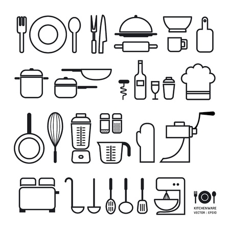 kuchnia: Kuchnia kolekcja ikon narzędzie może być używany do infografiki graficznych lub układ strony Horizontal