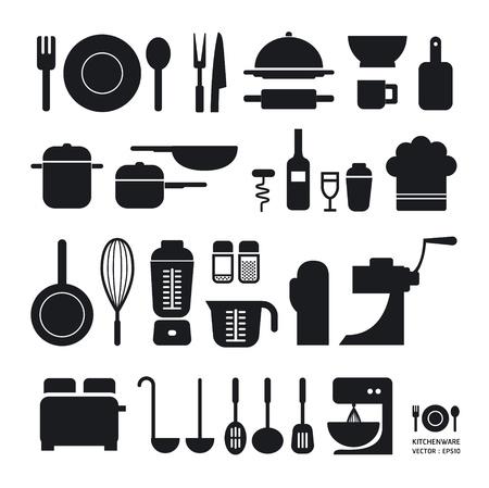 utensilios de cocina: Herramienta Kitchen iconos de colección puede ser utilizado para gráficos o infografías diseño web Horizontal