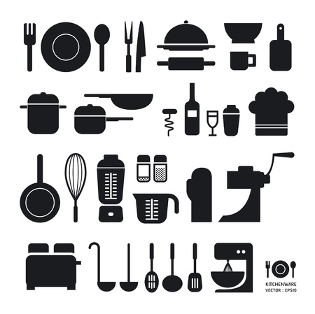 Kitchen tool icons collection   can be used for infographics   graphic or website layout Horizontal