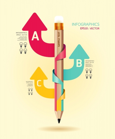 pencil: Creative Template with pencil ribbon arrow banner   can be used for infographics   banners   concept  illustration