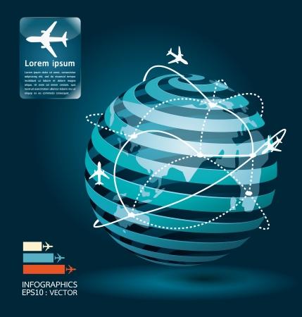 avioncitos: avi�n infograf�a conexiones de red concepto de dise�o ilustraci�n Vectores