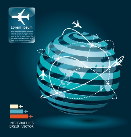 airplane cargo: infographic airplane connections network concept design    illustration