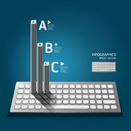 Modern keyboard  infographics education  numbered banners  horizontal cutout lines  graphic or website layout   Illustration