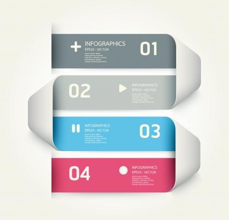 graficas: Plantilla de dise�o moderno se puede utilizar para la infograf�a banderas numeradas l�neas horizontales recorte gr�ficos o sitio web layout Vectores