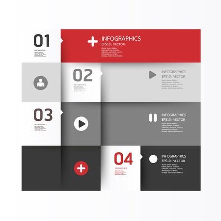 plantilla: Plantilla de diseño moderno se puede utilizar para la infografía banderas numeradas líneas horizontales recorte gráficos o sitio web layout Vectores