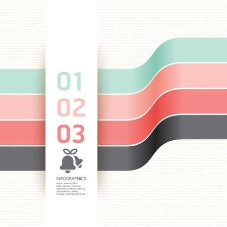 Modern Design template soft colour   can be used for infographics   numbered banners   horizontal cutout lines   graphic or website layout   Stock Vector - 17439503