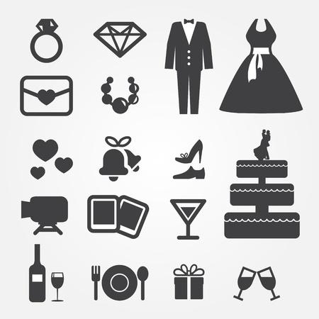suknia ślubna: Ikony Å›lubne Ilustracja