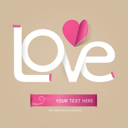 pink ribbon: love font paper concept   Illustration