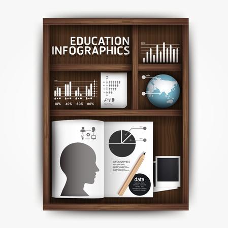 graph paper: Creative infographics education shelf book box concept vector illustration