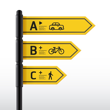 Modern road sign Design template   can be used for infographics   sign banners   horizontal cutout lines   graphic or website layout  Stock Vector - 19583597