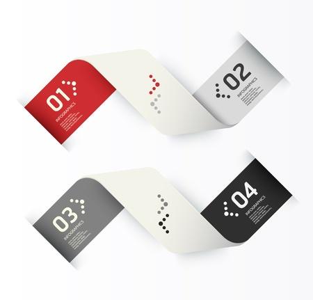 numbered: Design moderno modello pu? essere utilizzato per infografica numerati banner linee di foratura orizzontali grafiche o al sito web il layout