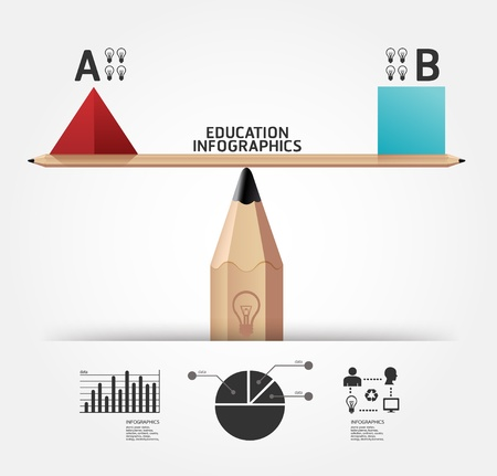 educacion: Infograf�a creativo educaci�n l�piz Ilustraci�n del concepto Vectores