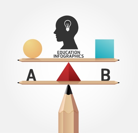 芸術的: インフォ グラフィック教育鉛筆概念図  イラスト・ベクター素材