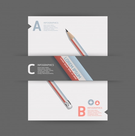 advertising text: Creative Template with pencil  banner   can be used for infographics   banners   concept  illustration Illustration