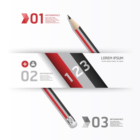 Creative Template with pencil  banner   can be used for infographics   banners   concept  illustration Stock Vector - 19583602
