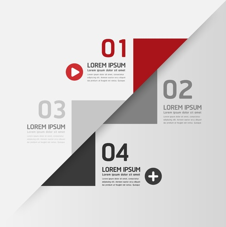 paper tag: Modern Design template  can be used for infographics  numbered banners  horizontal cutout lines  graphic or website layout