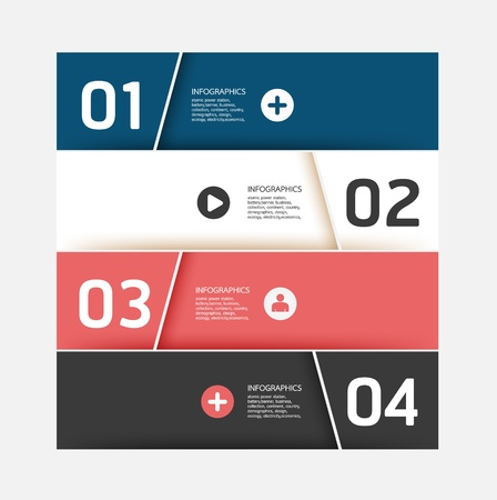 Modern Design template   can be used for infographics   numbered banners   horizontal cutout lines   graphic or website layout  Stock Vector - 19583613