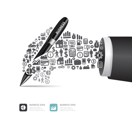 education choice: Elements are small icons Finance make in active businessman hand with pen shape illustration  concept