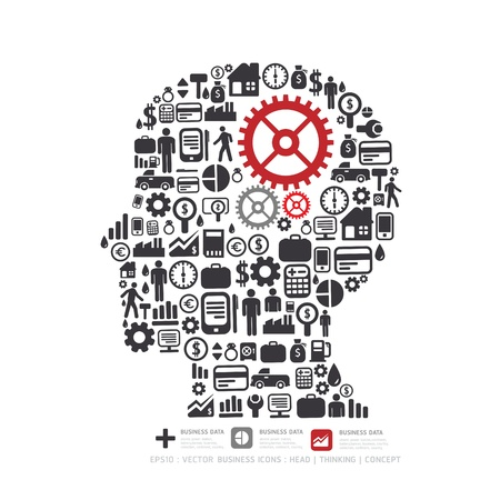 mind set: Elements are small icons Finance make in man think with gear concept illustration  Illustration