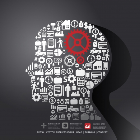 thinking machines: Elements are small icons Finance make in man think with gear concept  illustration