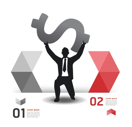 Modern Design template with business man   can be used for infographics   numbered banners   horizontal cutout lines   graphic or website layout Stock Vector - 19583593