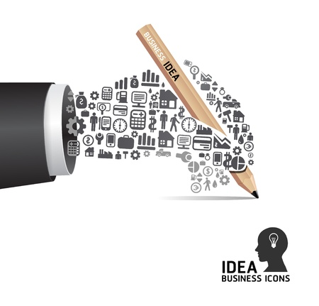 sticker design: Elements are small icons Finance make in active businessman hand with pencil shape  illustration  concept Illustration