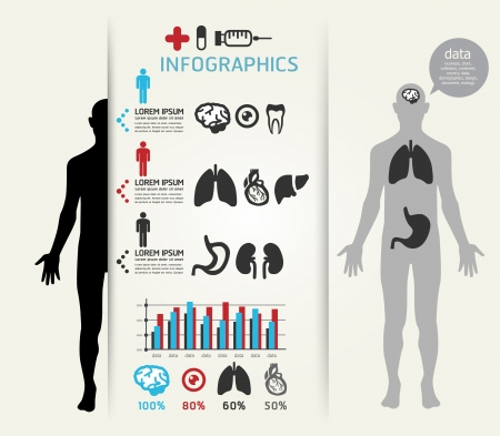 Medical Infographic Design template   can be used for infographics   horizontal cutout lines   graphic or website layout  Vector