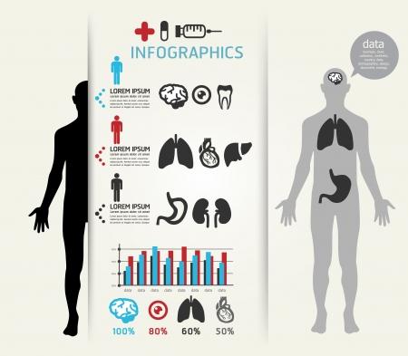 medische kunst: Medische Infographic Ontwerp sjabloon kan worden gebruikt voor infographics horizontale uitsparing lijnen grafische of website layout