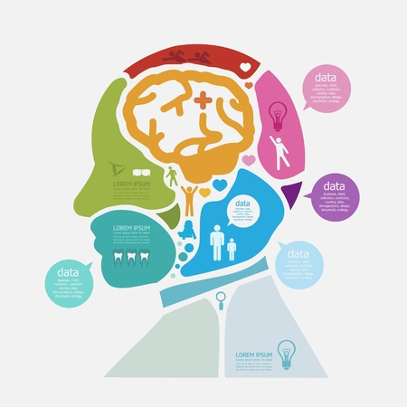 brain icon: Modern Design human Brain template   can be used for infographics   numbered banners   horizontal cutout lines   graphic or website layout