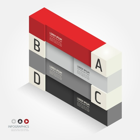 graph paper: Modern Design template isometric style can be used for infographics  numbered banners  horizontal cutout lines  graphic or website layout vector
