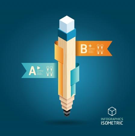 コンセプト: 鉛筆でクリエイティブ テンプレート バナー アイソメ図スタイルをリボンインフォ グラフィックのために使用することができますバナー概念ベク