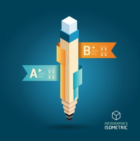 eğitim: Kalem şerit afiş izometrik tarzı ile Yaratıcı Şablon  Infographics  afiş  konsepti vektör çizim için kullanılabilir