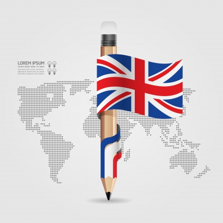 Creative Template with pencil flag banner    can be used for infographics   banners   concept vector illustration Vector