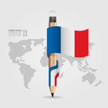 Creative Template with pencil flag banner    can be used for infographics   banners   concept vector illustration Stock Vector - 20138501