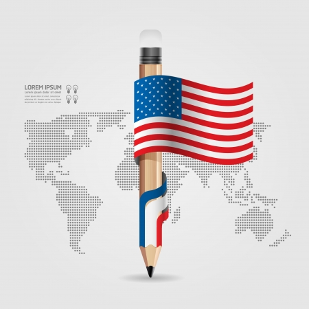 Creative Template with pencil flag banner    can be used for infographics   banners   concept vector illustration Stock Vector - 20138504