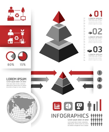 grafisch: infographics template piramide grafische stijl of website lay-out vector Stock Illustratie