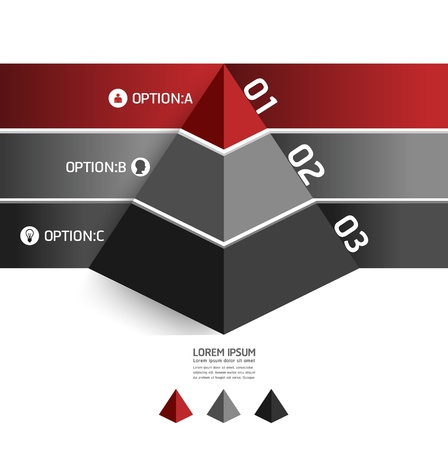 pyramids: Modern Design template pyramid style  can be used for infographics   numbered banners   horizontal cutout lines   graphic or website layout vector