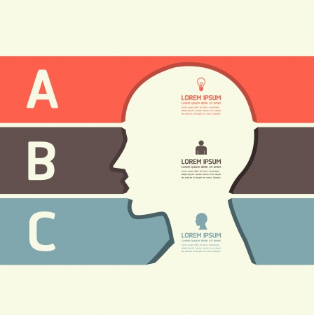 Modern Design template cut head shape style  can be used for infographics   numbered banners   horizontal cutout lines   graphic or website layout vector  Vector