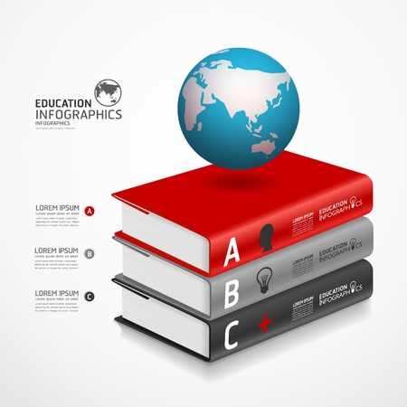 modern infographic Template with book and globe banner illustration Stock Vector - 20753685