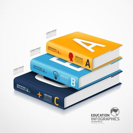 erziehung: modernen Infografik Template mit Buch und Globus Fahnenabbildung