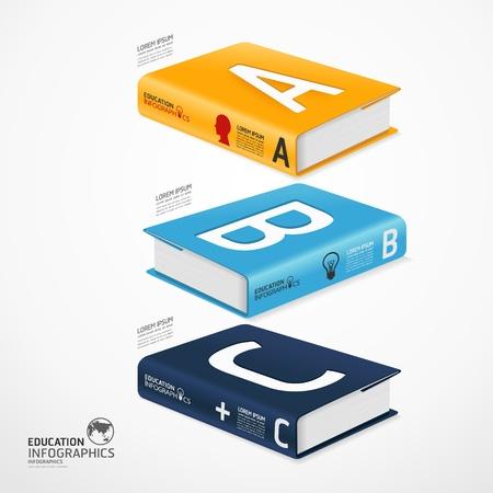 concept: moderno modello di infografica con libro e globo bandiera illustrazione Vettoriali