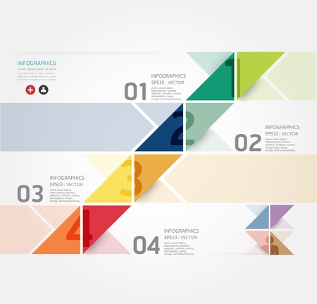 graphic: Modern Design Minimal style infographic template  can be used for infographics  numbered banners  horizontal cutout lines  graphic or website layout